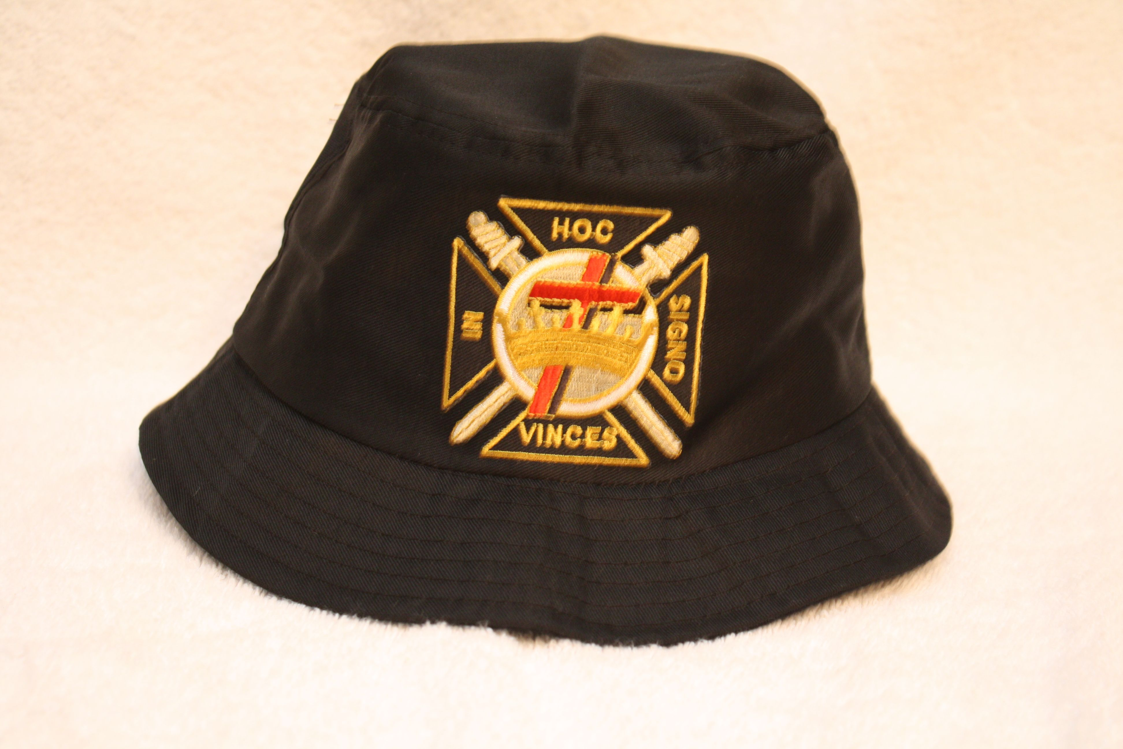 knights templar floppy bucket hat with embroidered emblem patch