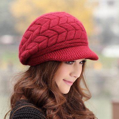 Elegant Women Hat Winter   Fall Beanies Knitted Hats For Woman Rabbit Fur  Cap Autumn Ladies Female Fashion Skullies b51b11327e12