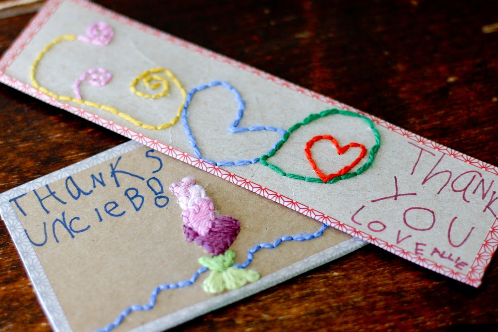 Hand embroidered note cards for the kids to make twine crafts