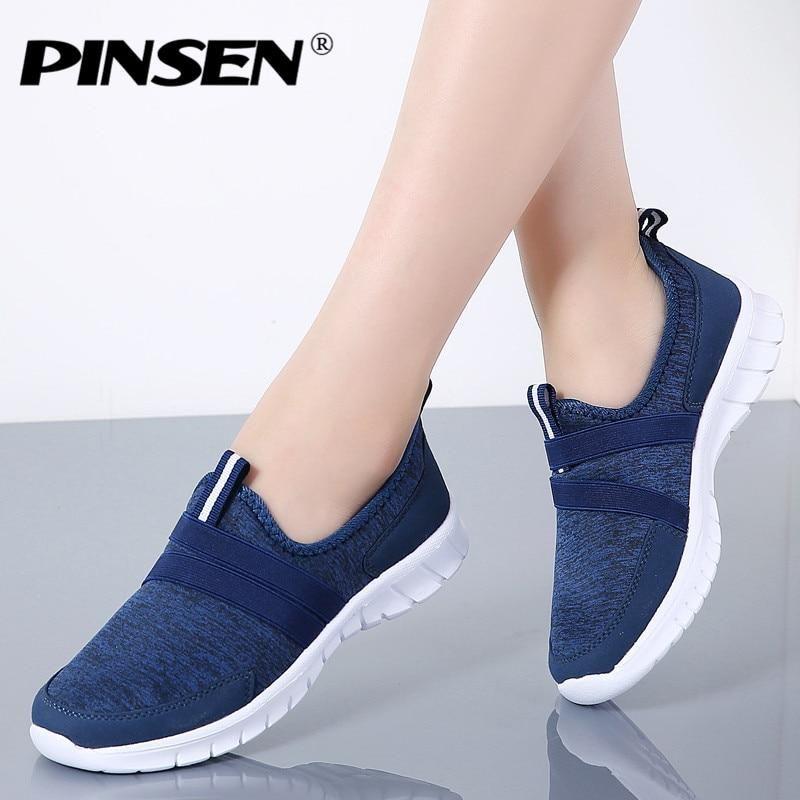 7e645fed82a PINSEN 2019 Autumn Sneakers Women Breathable Mesh Shoes Woman Ballet ...