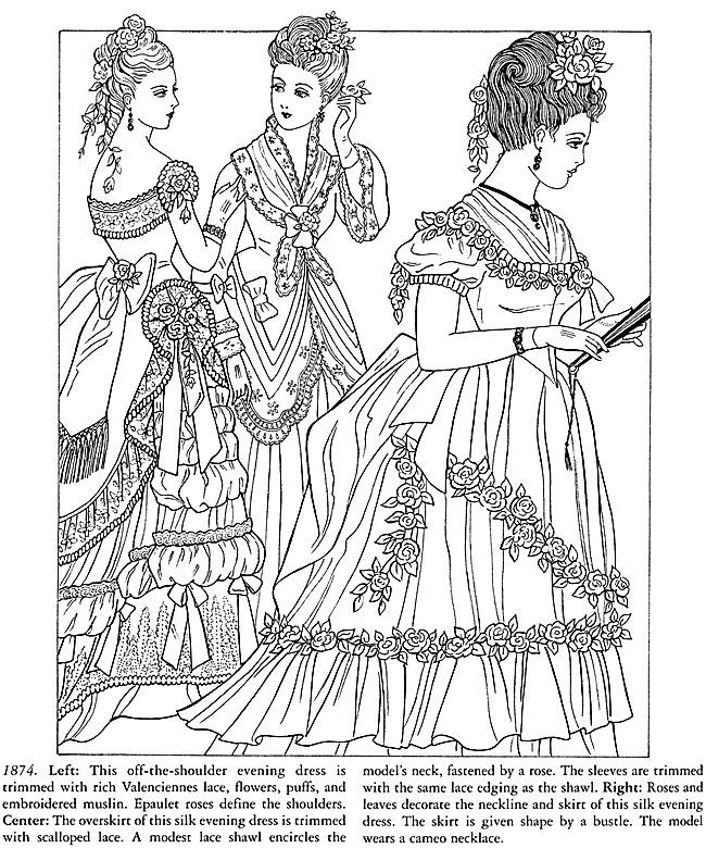 victorian coloring pages victorian homes Coloring Pages for Adults | Ladies Victorian Dress  victorian coloring pages
