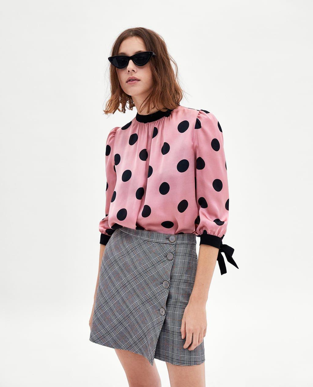 Image 2 Of Satin Polka Dot Blouse From Zara Blusas De Moda Patrones Ropa Blusas Juveniles Moda