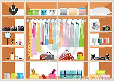 Flat Design walk in closet with shelves. (With images