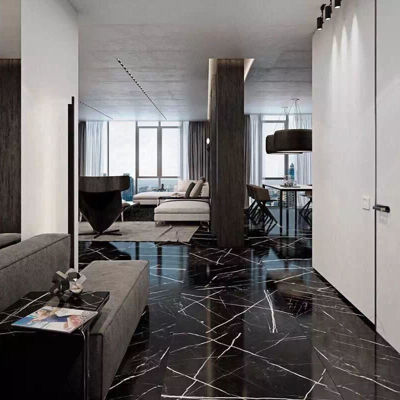 Nero Marquina Polished Marble 60 X 60 X 1 8 Cm Piatraonline Com For Countertops 18mm Thick Tile Bedroom Marble Living Room Floor Marble Tile Floor