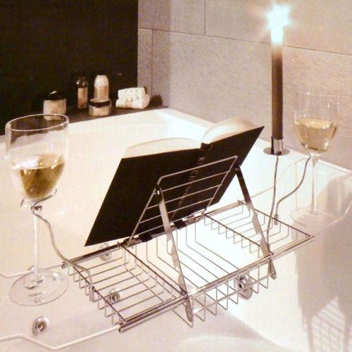 HOT Bathroom Bamboo Bath Caddy Wine Glass Holder Tray Over Bathtub ...