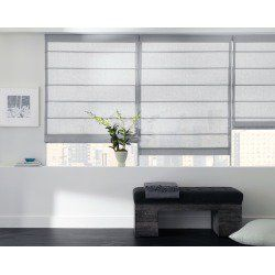 "Add a touch of Zen to your room. These Asian-inspired RomanShades feature 3/8"""" rod pockets with aluminum dowel inserts sewn to the front of shade approximately 6""""-8"""" apart. When raised, folds form and stack neatly on top of one another."