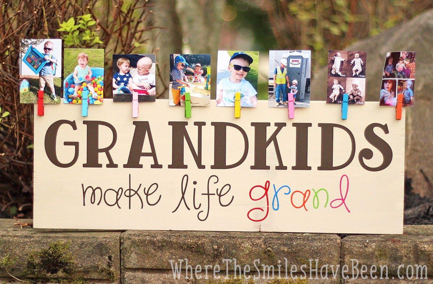 Colorful Grandkids Make Life Grand Wood Sign Photo Display | decor ...