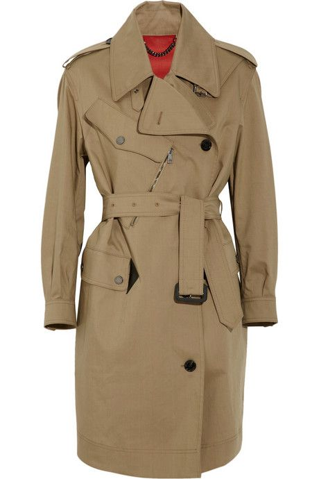 Burberry London Leather-trimmed gabardine trench coat
