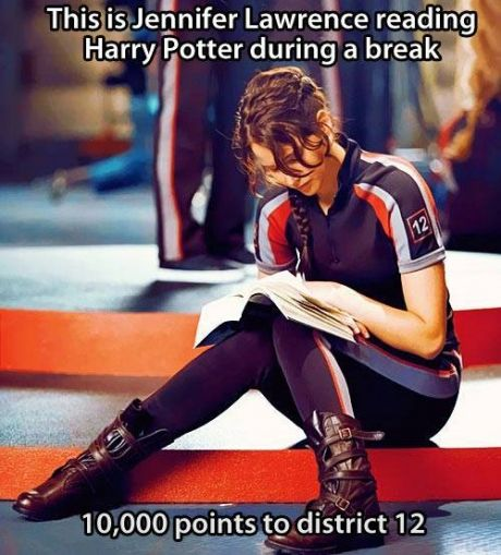 J-Law reading HP during filming break