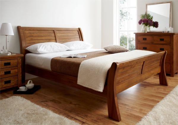 Fabulous Sleigh Bed In Lovely Natural Wood Decoist Double Bed