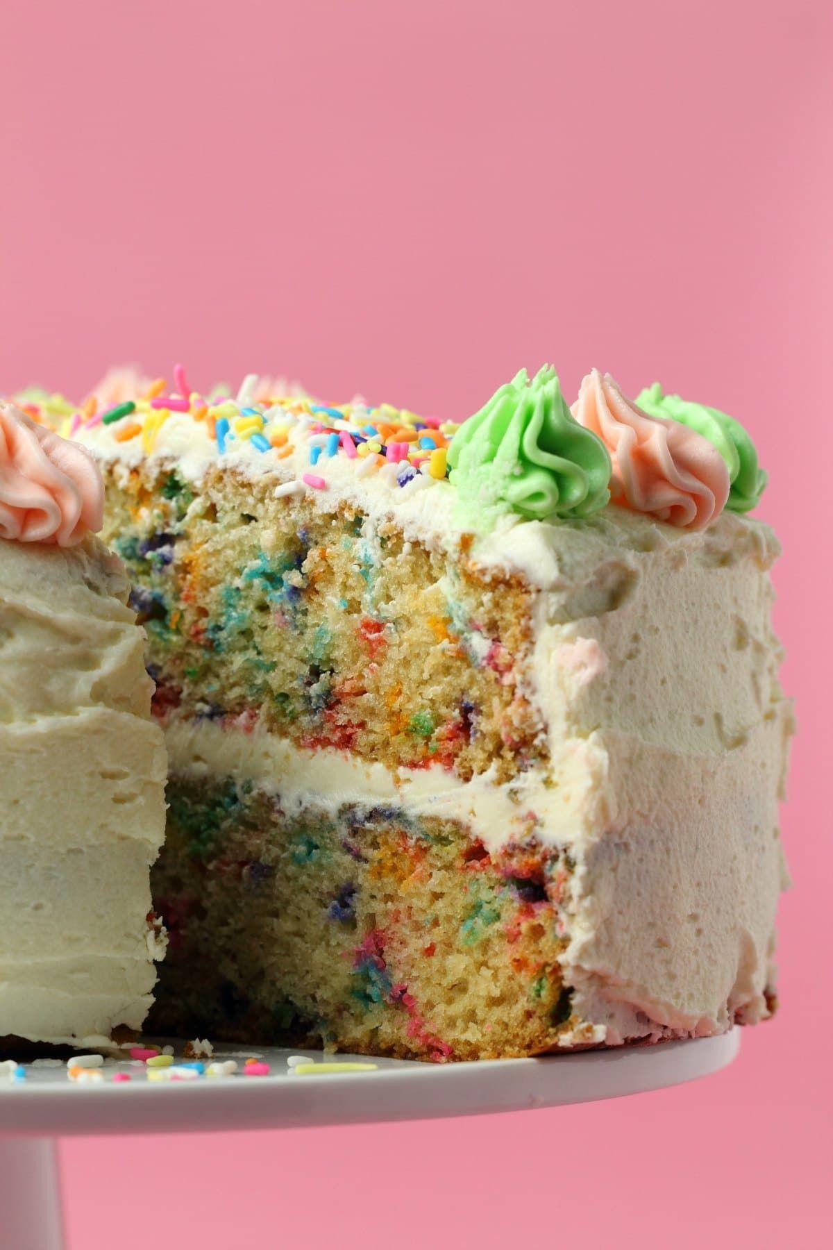 Colorful and festive vegan funfetti cake this