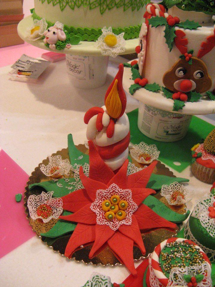 Stella Di Natale Pasta Zucchero.Candela E Stella Di Natale In Pasta Di Zucchero E Magic