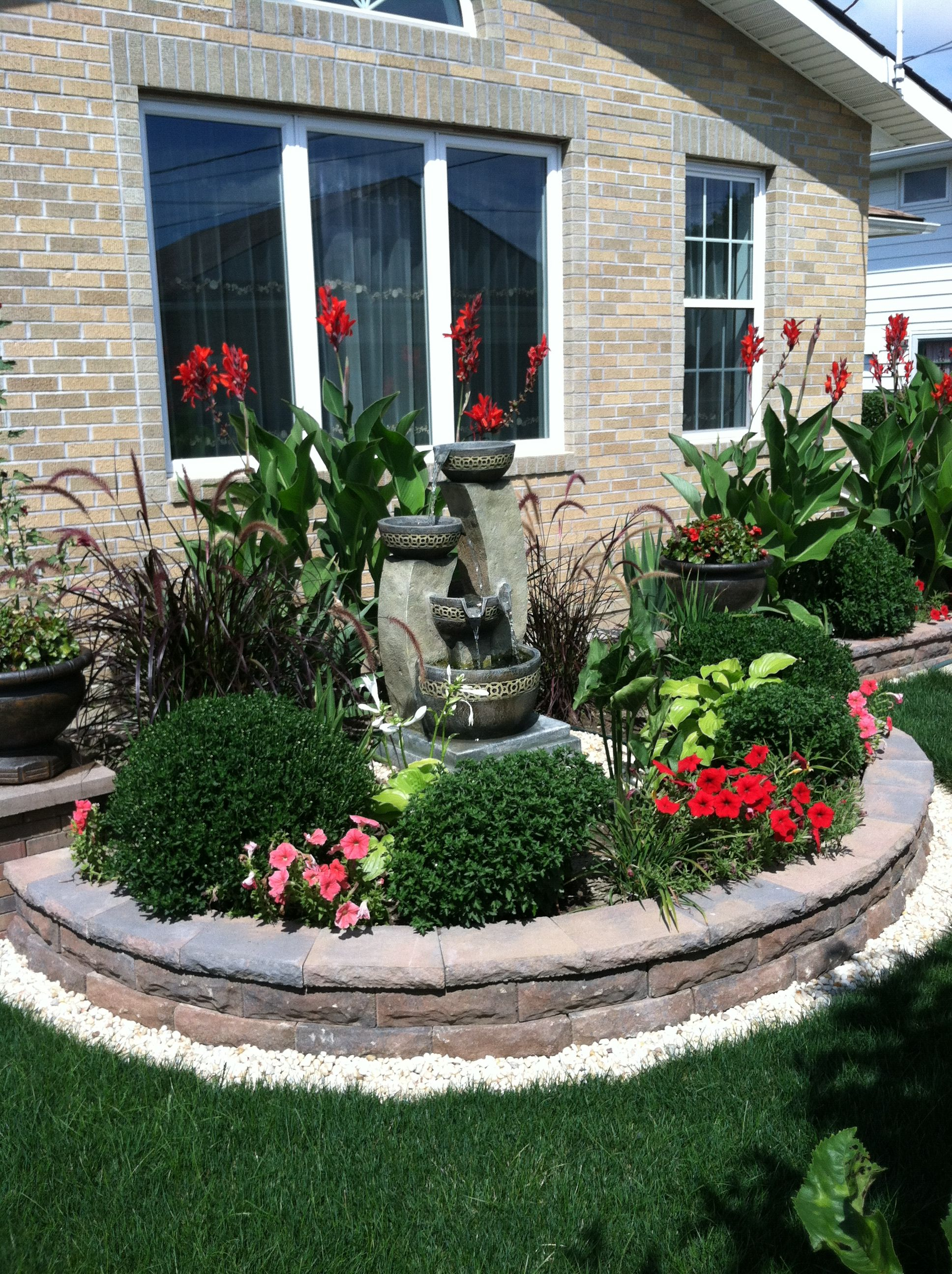 Fountain Feature With Plants For Front Of House Rock Garden