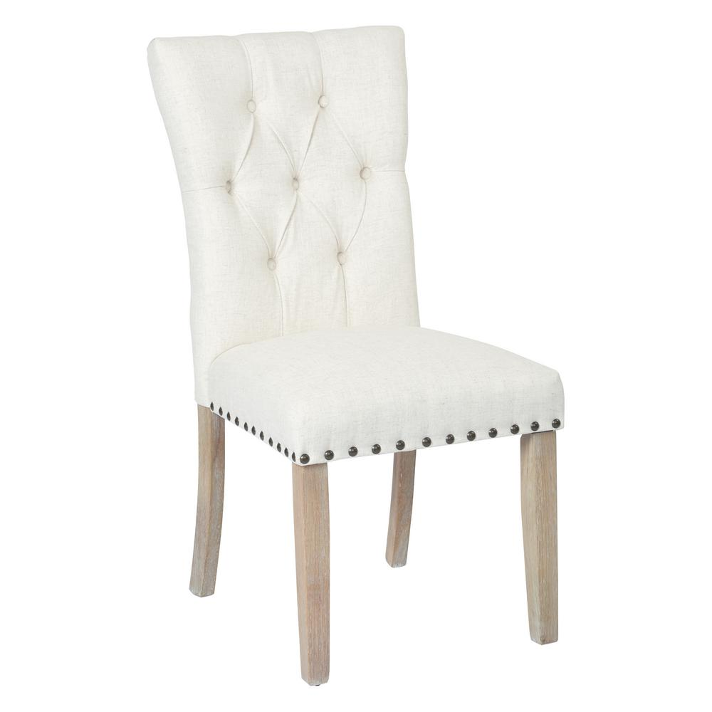 Osp Home Furnishings Preston Linen Fabric Dining Chair With Bronze Nailheads And Brushed Legs Bp Psac L32 The Home Depot Dining Chairs Tufted Dining Chairs Fabric Dining Chairs