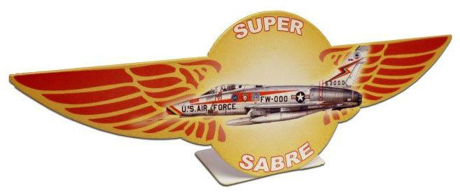 Vintage and Retro Tin Signs - JackandFriends.com - Retro Super Saber Table Topper  12 x 4 Inches, $14.98 (http://www.jackandfriends.com/retro-super-saber-table-topper-12-x-4-inches/)