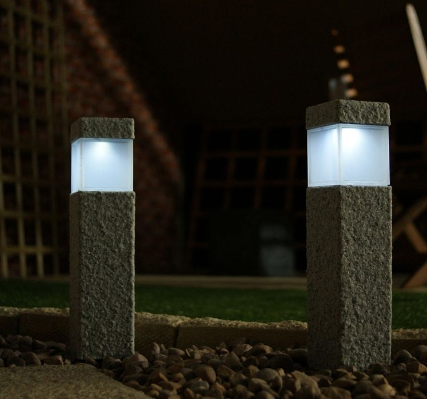 granite modern lamp post fixtures Square Stone Solar Post Lamps