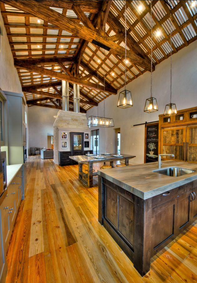 rustic home open floor plan wood  kitchen design