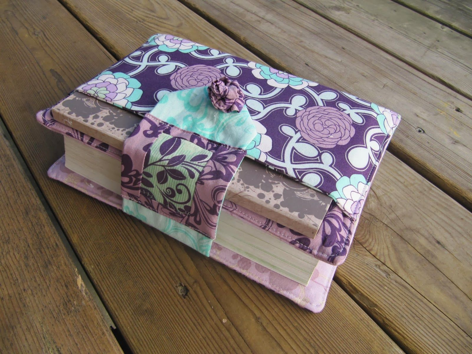 fabric book cover with slip pocket and pen pocket on the