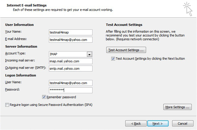 Yahoo Account to Outlook 2010 Using IMAP How to be