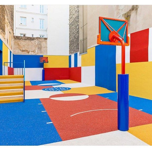 A Paris Apartment And A Paris Graphic: Vibrant Basketball Courts Designed By #pigalleduperre In