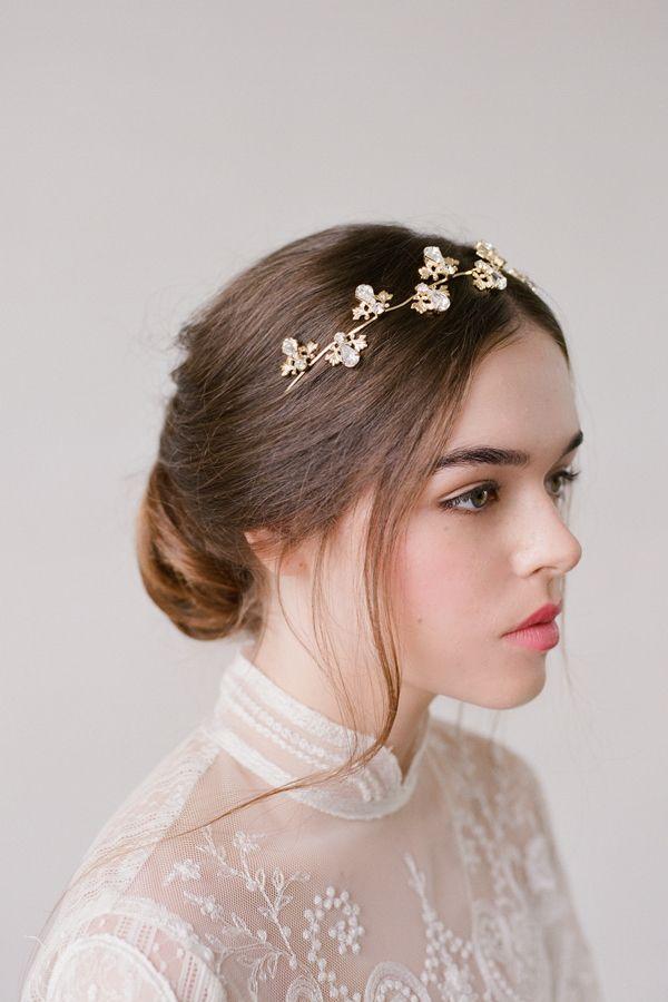 Kristina Gold Crystal Hair Wreath Bridal Headpiece Headpiece Bridal Headpieces Crystal Hair