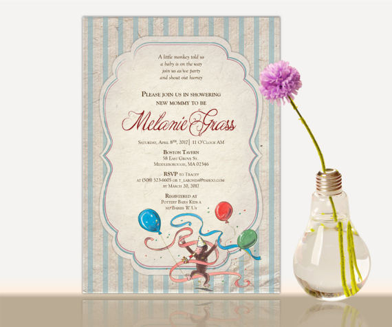 Curious george baby shower invitation curious george bridal curious george baby shower invitation curious george bridal shower baby shower party invite girl or boy gender neutral thank you card filmwisefo Image collections