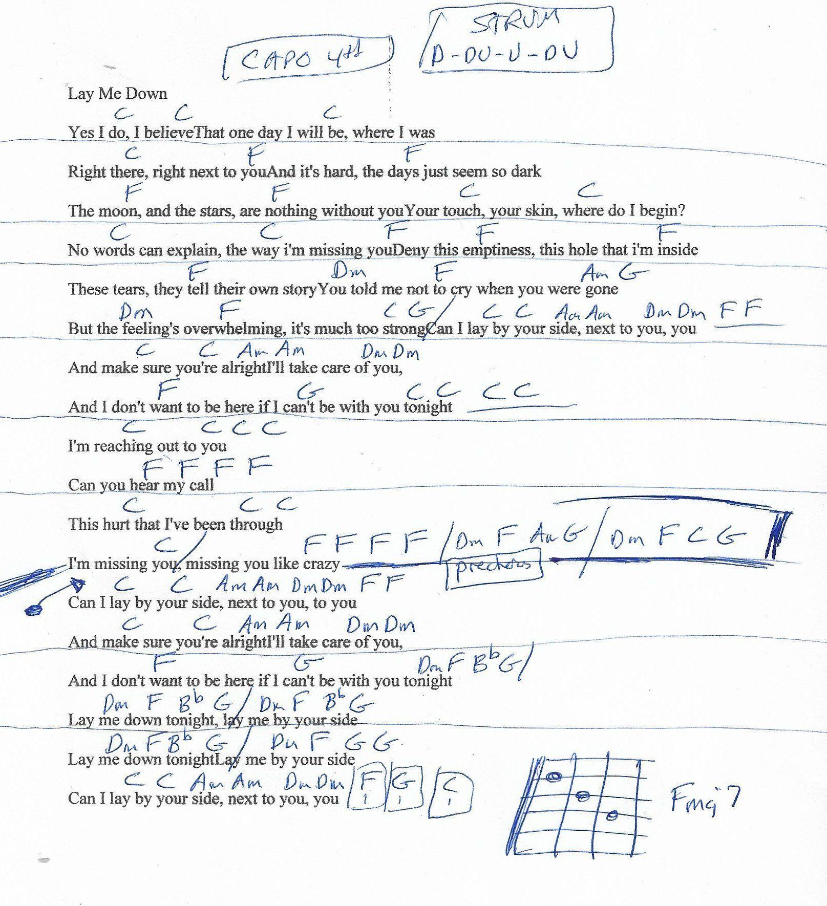 Lay Me Down Sam Smith Guitar Chord Chart   Guitar chord chart ...