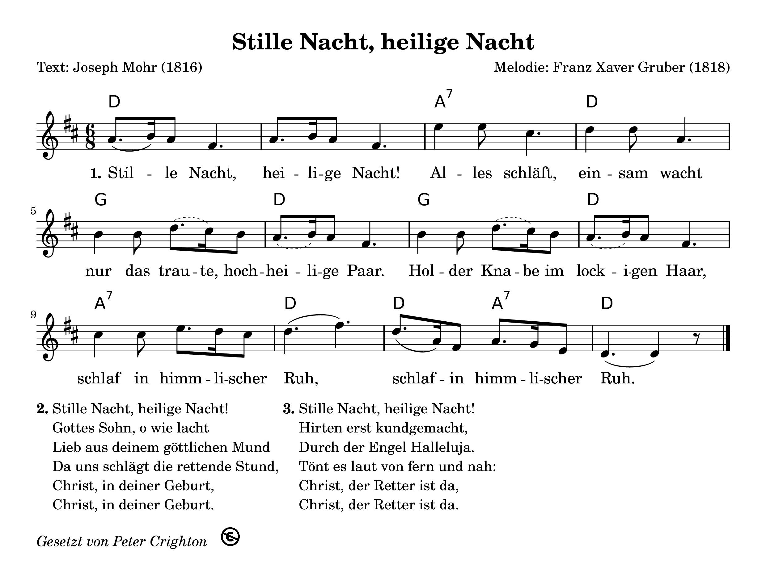 Liedtext Stille Nacht