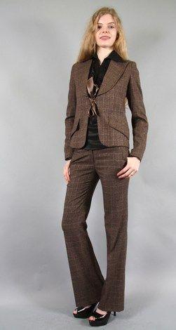 ensemble veste et pantalon marron chiné |