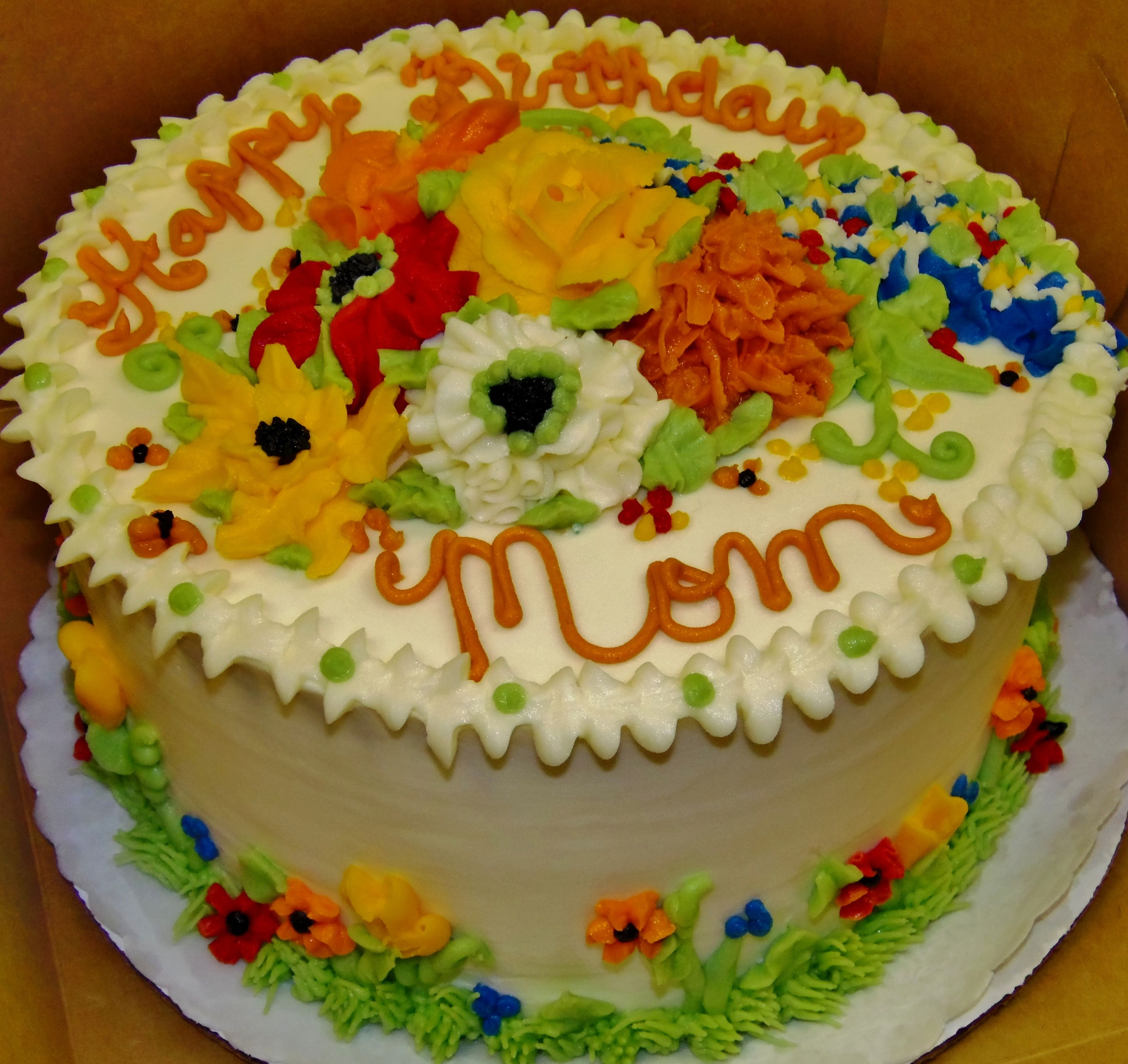 2layer 8inch round cake with fall buttercream flowers for an