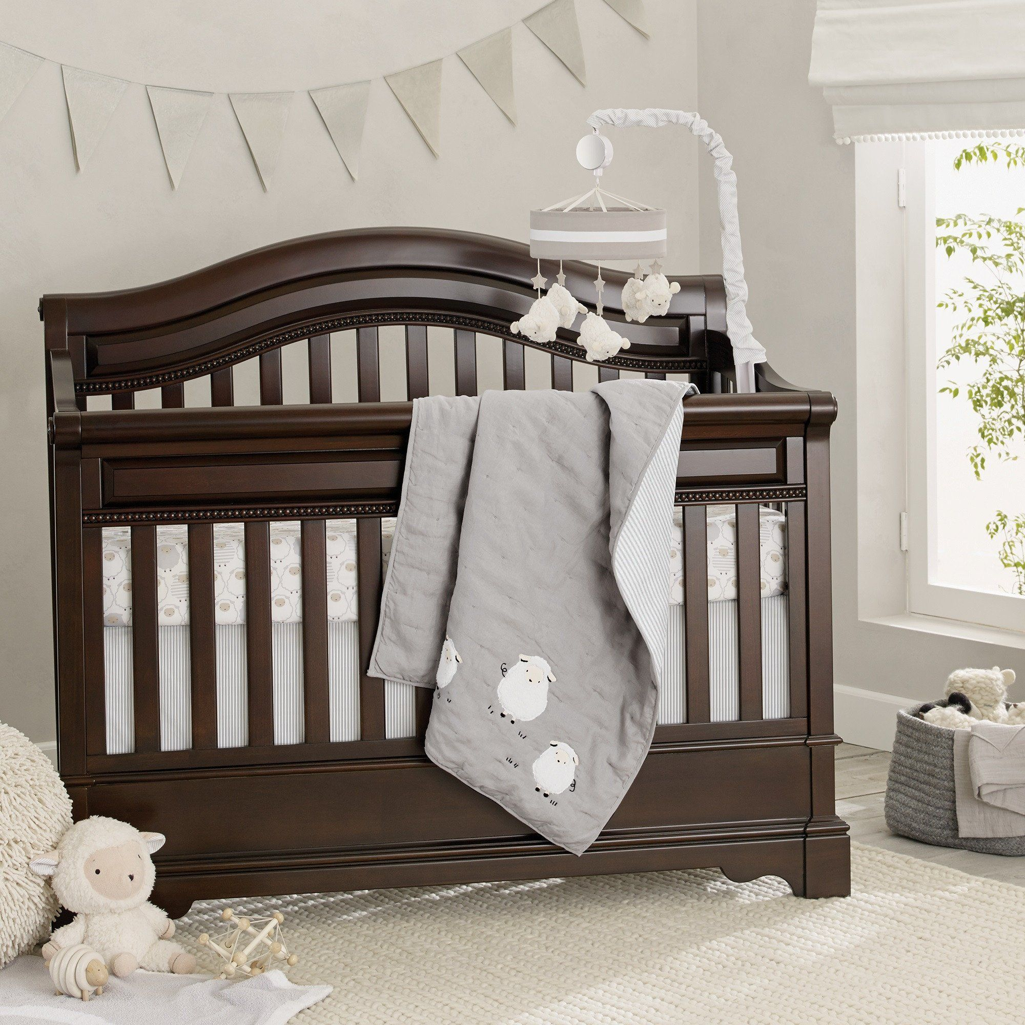 Signature Goodnight Sheep 4 Piece Crib Bedding Set Lambs Ivy Baby Grey Nursery Neutral