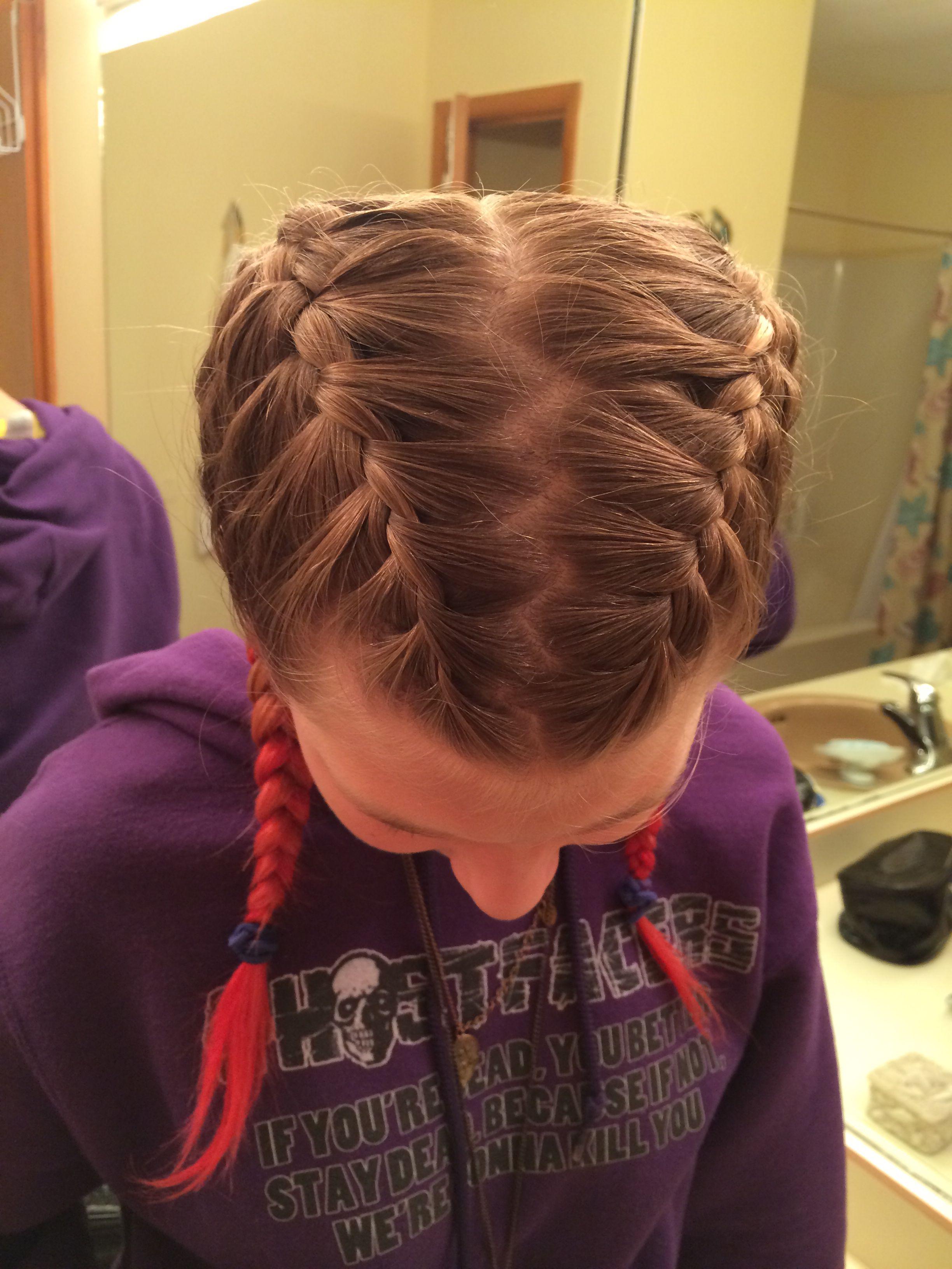 Zig zag part pigtail braids