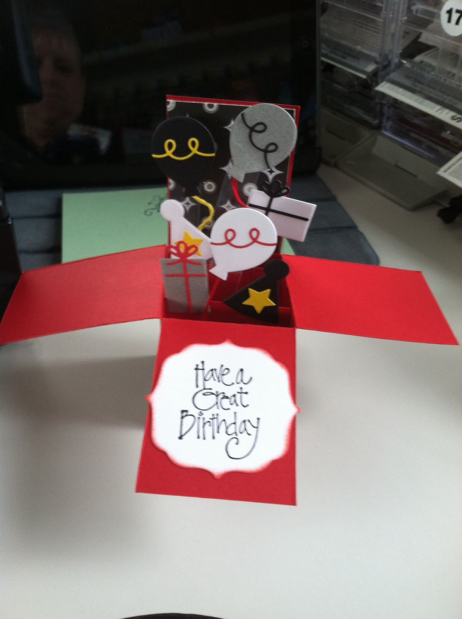 Pop up birthday card for megan using taylored expression die cuts
