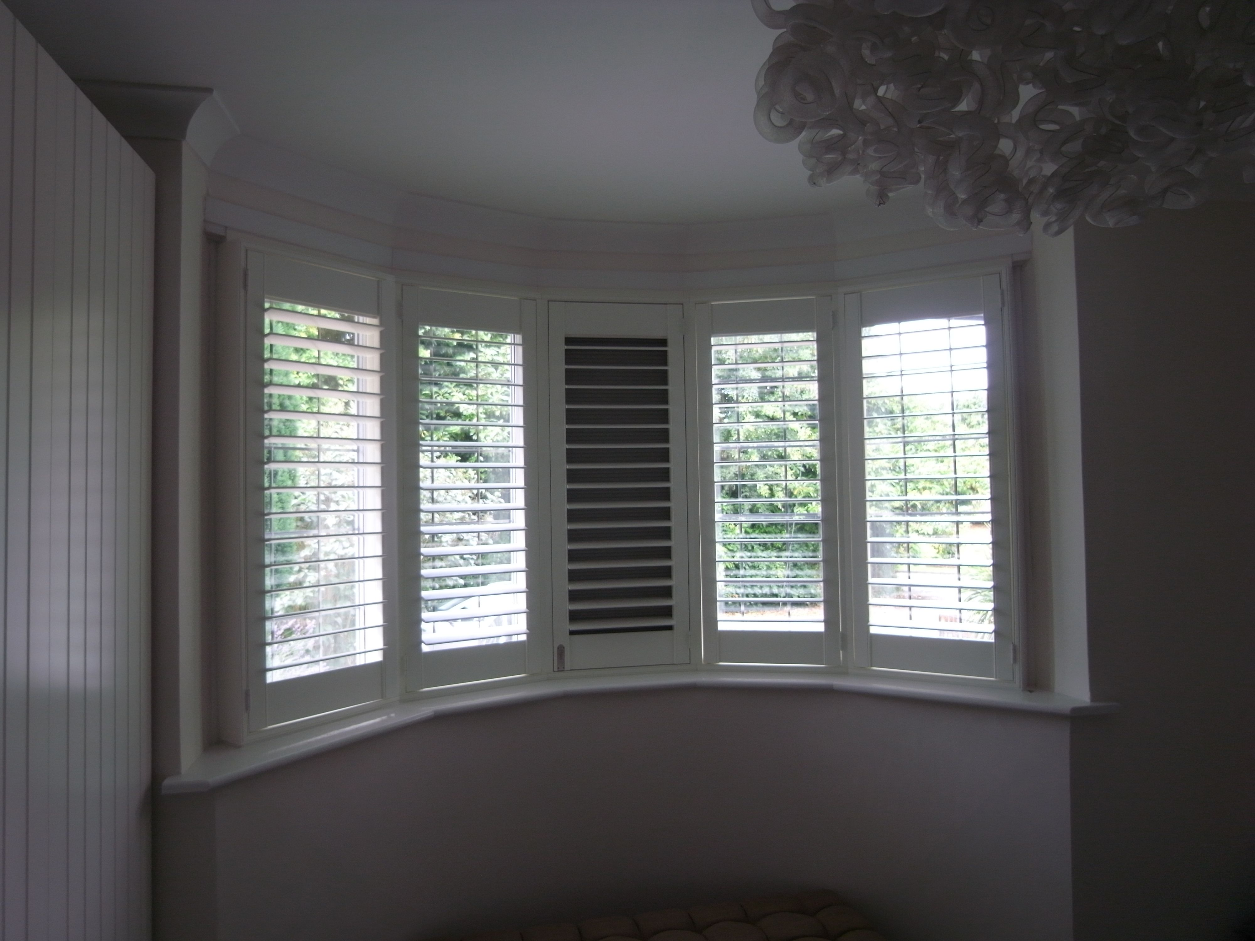 5 Panel Bay Window With Plantation Shutter And Blackout Blind Behind