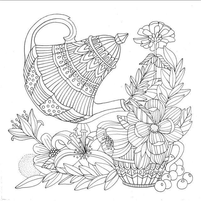 Coffee Pot Coloring Page Mindfullnesscolouringbook Coffee Tea