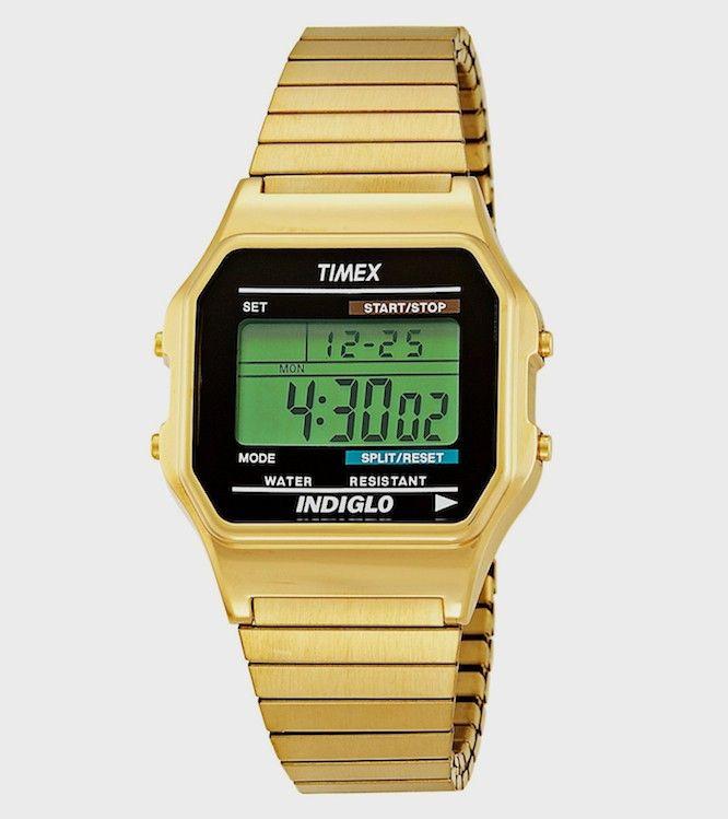 Classic Gold Tone Digital Watch W/ Indiglo Night Light   Timex $99.00 NZD