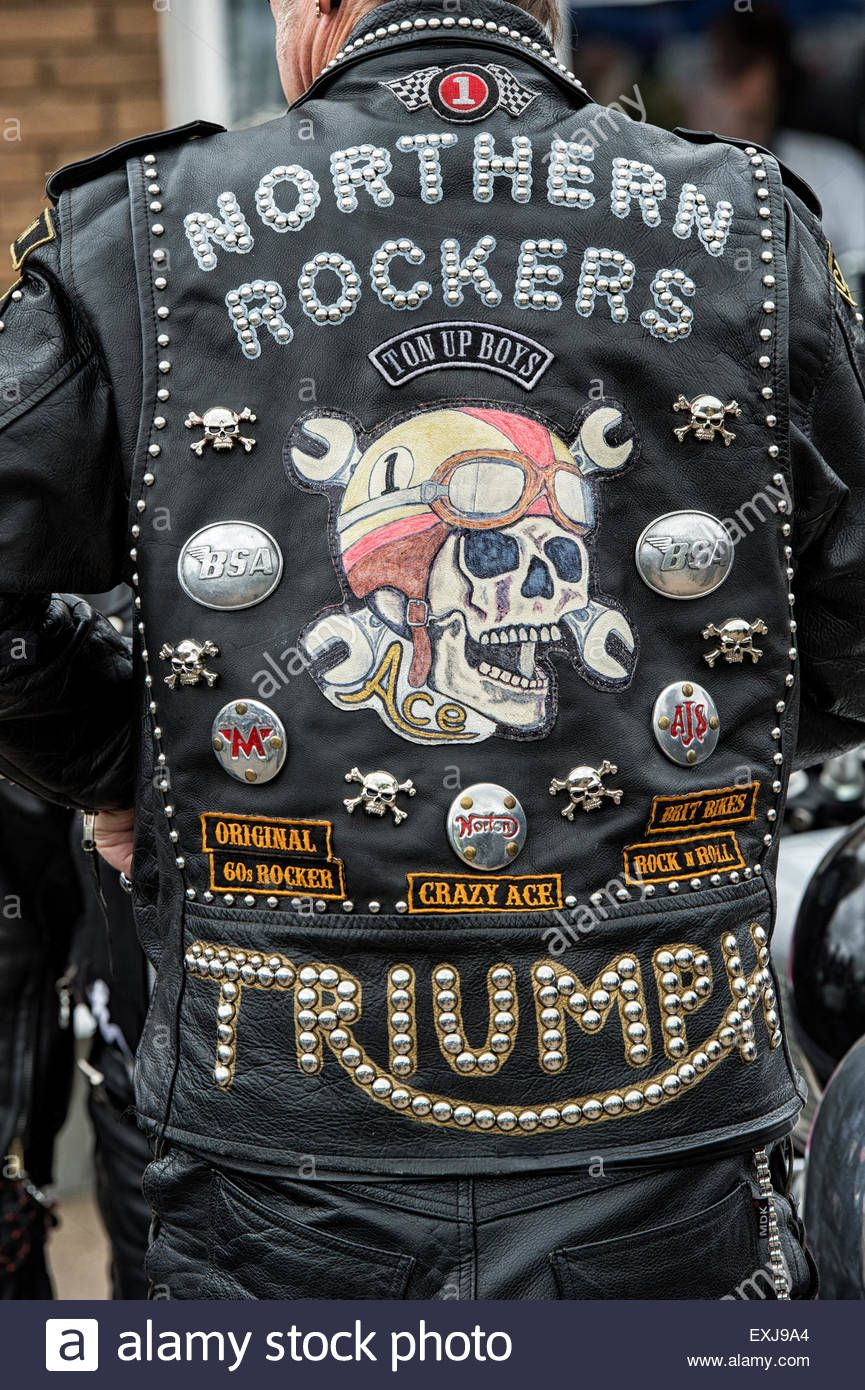 Rockers leather jacket covered in studs, patches and badges