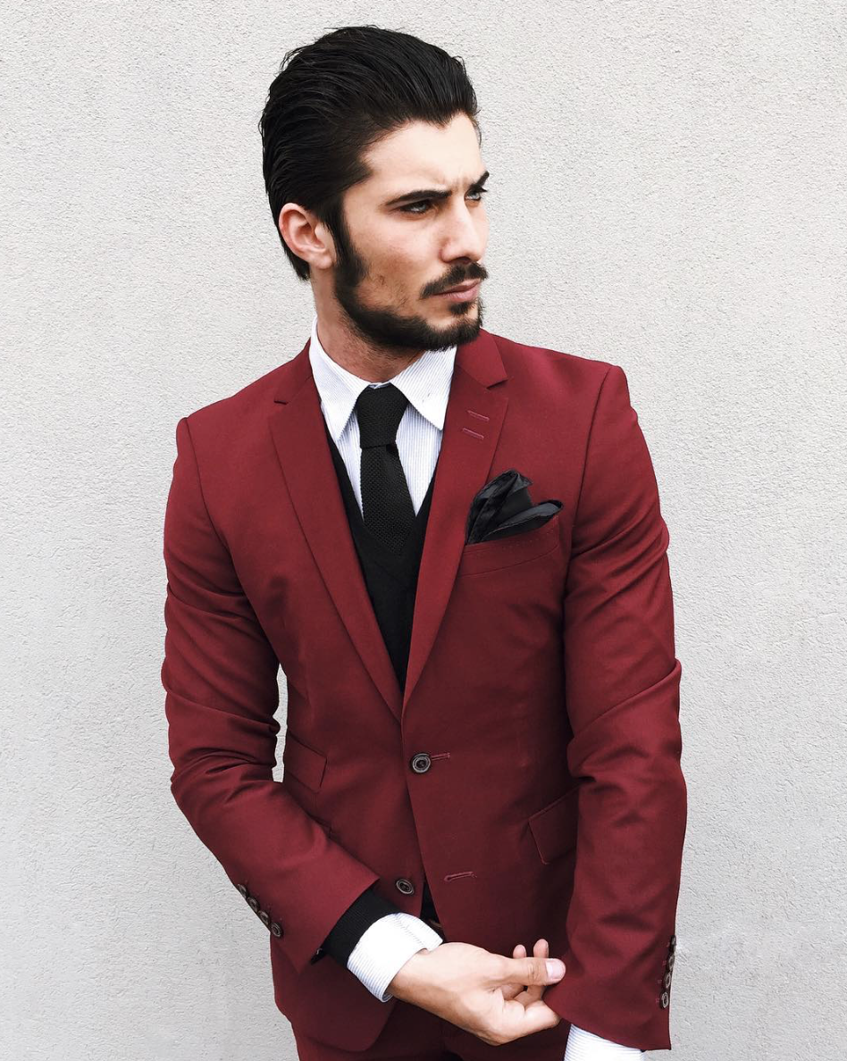 Burgundy suit, white shirt, black tie and black pocket square ...