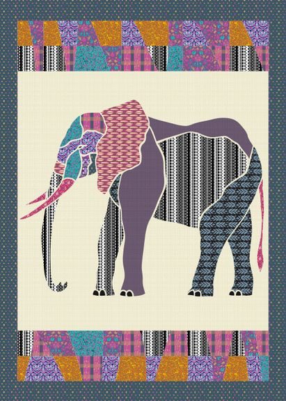 E is for Elephant. Customize this quilt top at patternjam.com and ...