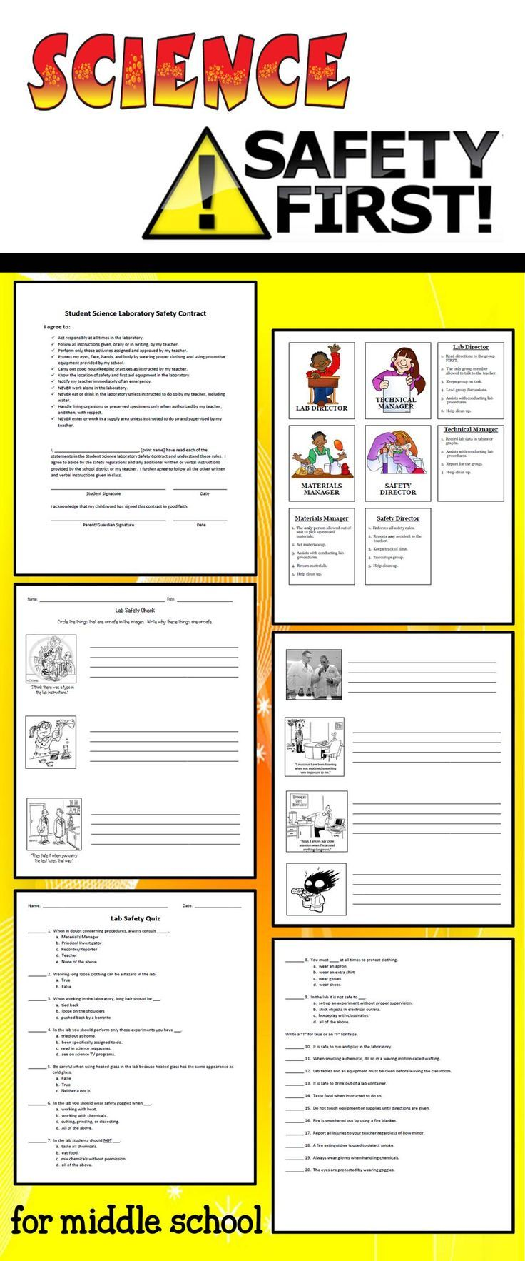 Safety quizzes, worksheets, contracts, and more! Great for