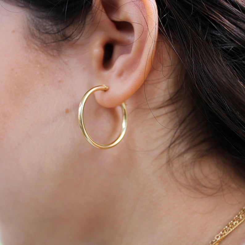 Thick Gold Hoop Earring 14k Gold Filled Circle Hoops Etsy Gold Hoop Earrings Hoop Earrings Gold Hoops