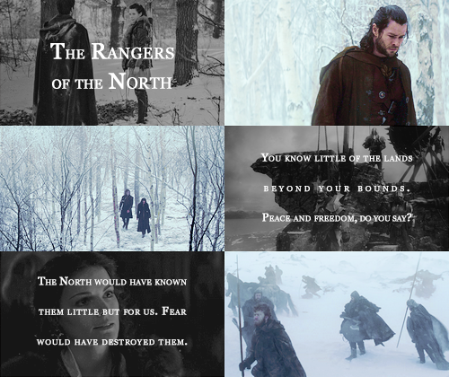 "the rangers of the north + winter 1/2      ""And yet less thanks have we than you. Travellers scowl at us, and countrymen give us scornful names...."""