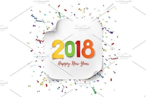 Happy New Year 2018 greeting card Flyer template and Brochures - new year greeting card template