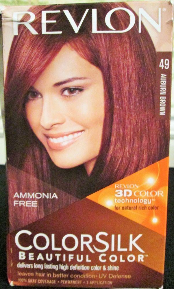 Hair Color Auburn Brown 49 Revlon Colorsilk Ammonia Free 1
