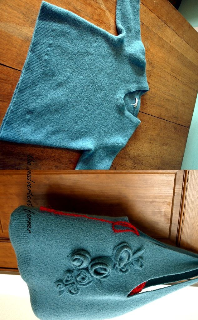 Make Alpaca Wool Sweater into Felted handmade Bag tutorial