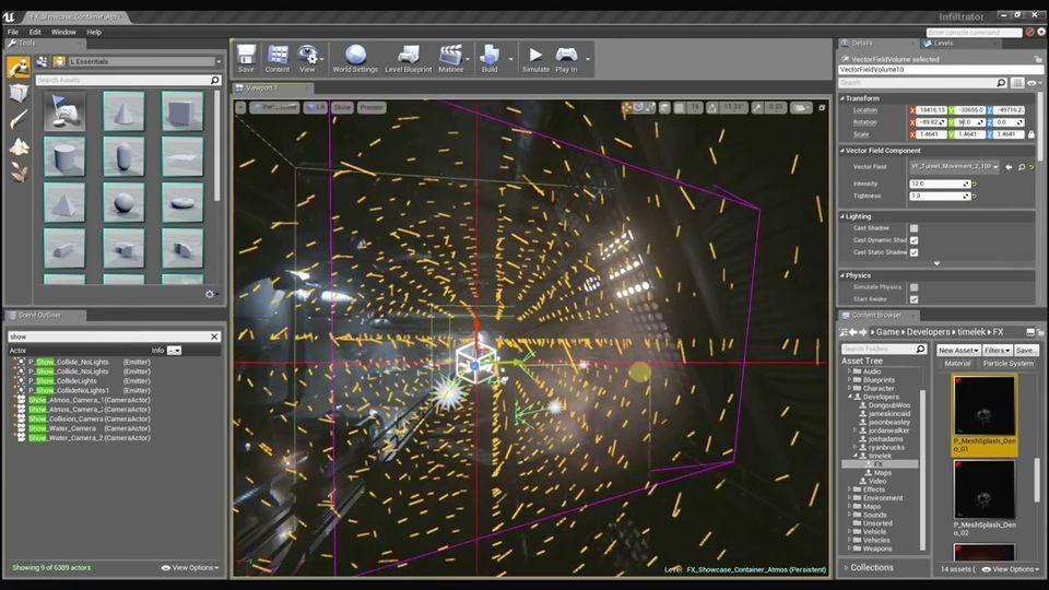 Unreal Engine 4 Visual Effects Water effects, GPU particle