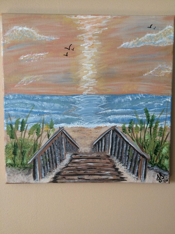 Preferred Beach Walkway Acrylic Painting 12