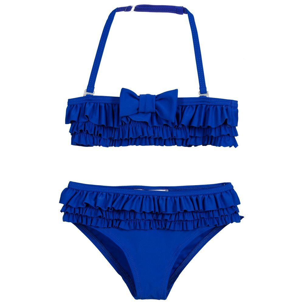 21dff5b692469 Girls royal blue bikini by Lili Gaufrette. Soft and stretchy and trimmed  with frills