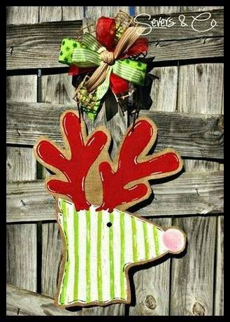 Whimsical Reindeer burlap door hanger by Severs & Co. $40+shipping.