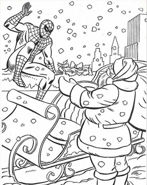 Spiderman Coloring Pages Christmas With Santa